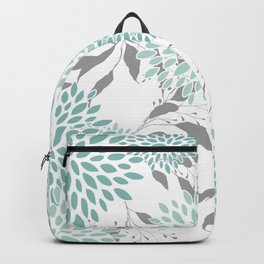 Festive, Floral Blooms and Leaves, Teal and Gray Backpack