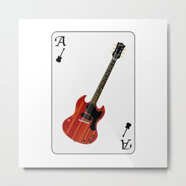 Solid Guitar Playing Card Metal Print