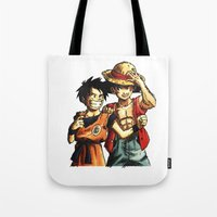luffy Tote Bags featuring Monkey D. Luffy and Son Goku by The Big Duo