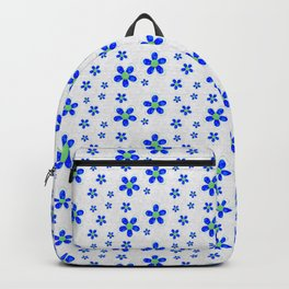 Dainty Blue Flowers on White Background Backpack