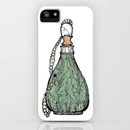 Antique perfume bottle. Vintage green iPhone Case