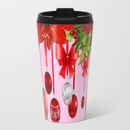 RED AMARYLLIS FLOWERS & HOLIDAY ORNAMENTS FLORAL Travel Mug