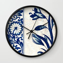 Blue Oriental Vintage Tile 03 Wall Clock