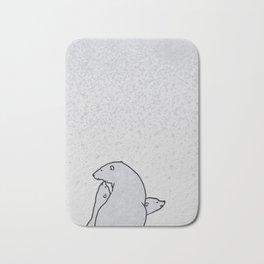 Art print: The polar bear family and the snow flakes Bath Mat
