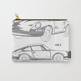 911 Classic Car Patent - 911 Carrera Art - Black And White Carry-All Pouch