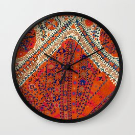 Orange Wildflower Sunshine III // 18th Century Colorful Rusty Red Bright Blue Metallic Happy Pattern Wall Clock