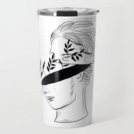 Woman sculpture art with flowers Travel Mug
