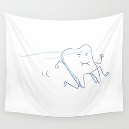 Floss - running tooth - blue Wall Tapestry