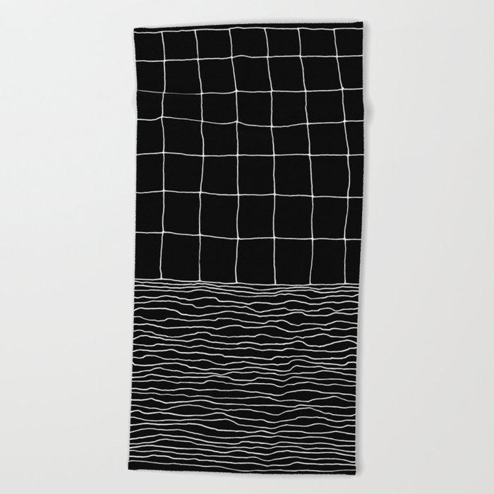 Hand Drawn Grid Beach Towel