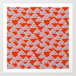Geometrical red baby blue hand painted triangles Art Print