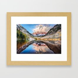 Colorado Maroon Bells Mountainous Landscape Reflection Framed Art Print