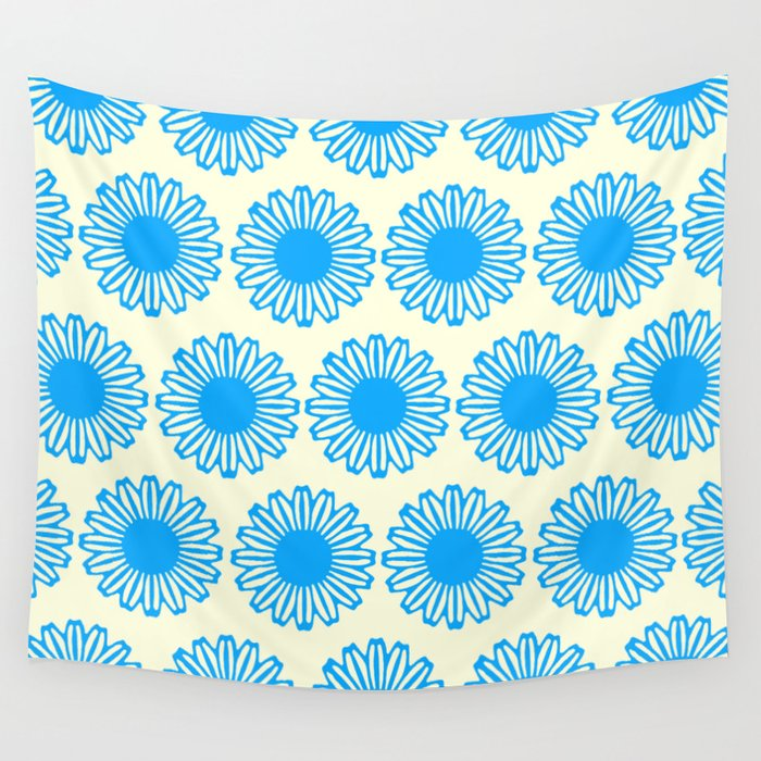 Vintage Flower_Turquoise Wall Tapestry