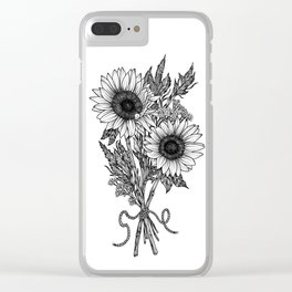 Black & White Dot Work Sunflower Print Clear iPhone Case