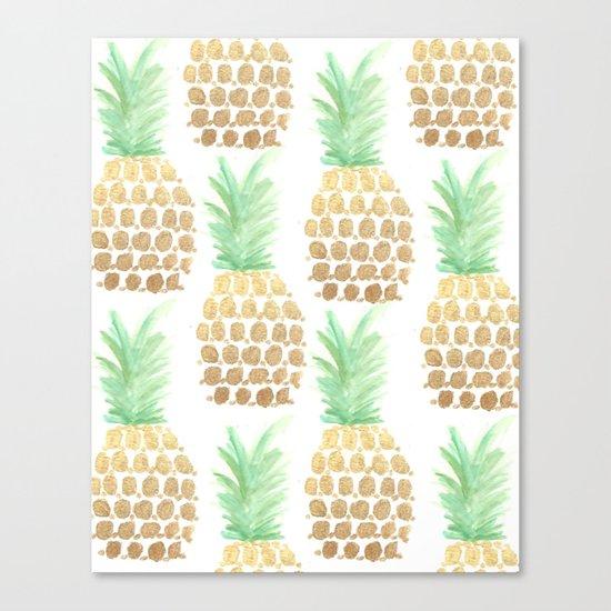 24K Gold Pineapples Canvas Print