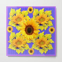 Golden Sunflower Pattern Floral Purple Shades Metal Print