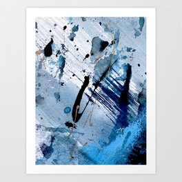Breathe [2]: colorful abstract in black, blue, purple, gold and white Art Print