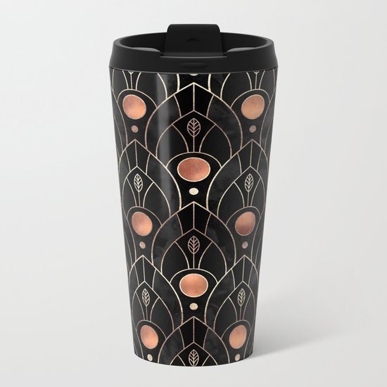 Art Deco Leaves / Version 3 Metal Travel Mug