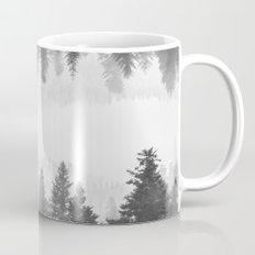 Black and white foggy mirrored forest Mug