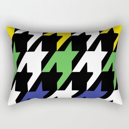 Jumbo Scale Masculine Colored Houndstooth Pattern Rectangular Pillow
