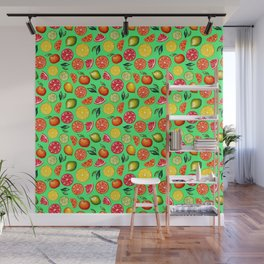 Citrus pattern on green background Wall Mural