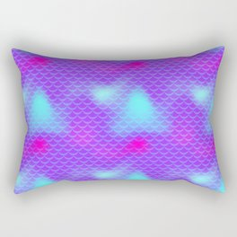 Violet and Blue Mermaid Tail Abstraction. Magic Fish Scale Pattern Rectangular Pillow