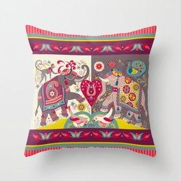 Raja's Garden 'Two Royal Elephants' with Indian Stripe Throw Pillow