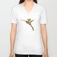 finland V-neck T-shirts featuring Tree Frog Playing Acoustic Guitar with Flag of Finland by Jeff Bartels