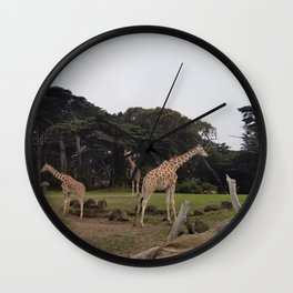 Giraffes Afternoon Stroll Wall Clock