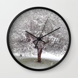 Apple Tree In Snow Wall Clock