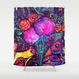 CRAZY BIRDS AND CRAZY FLOWERS Shower Curtain