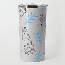 Siberian Husky Pattern (Light Gray) Travel Mug