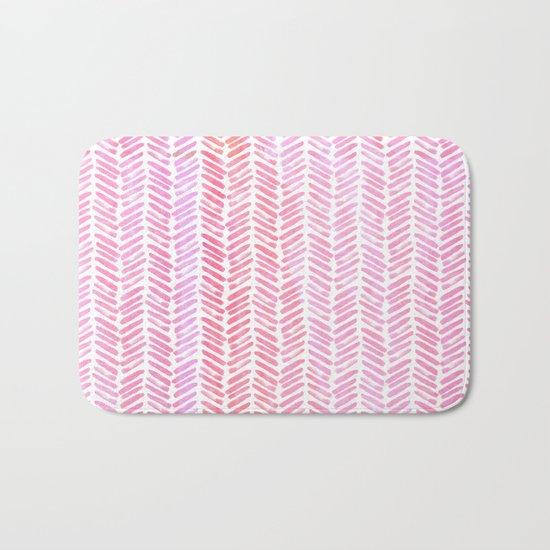 Handpainted Chevron pattern-small- pink watercolor on white Bath Mat
