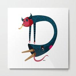 Diablillo Letter D Metal Print