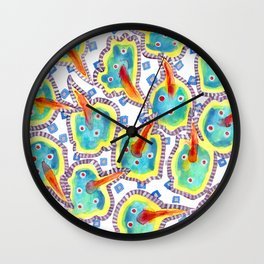 Red Beaks Pattern Wall Clock