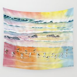 Sandpipers on Beach Wall Tapestry