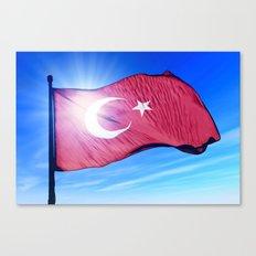 Turkey flag waving on the wind Canvas Print
