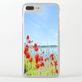 Red poppies in the lakeshore Clear iPhone Case