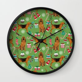 Bloodhound christmas candy canes and snowflakes holiday dog breed gifts Wall Clock