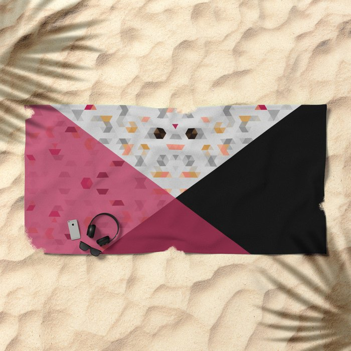 Little Triangles with Black and Pink Beach Towel