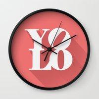 yolo Wall Clocks featuring YOLO by tomodachi