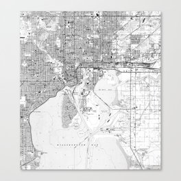 Vintage Map of Tampa Florida (1944) BW Canvas Print