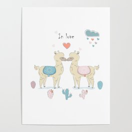 Llamas In Love Poster