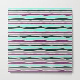Geometrical mauve violet teal gray forest green stripes Metal Print
