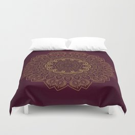 Gold Mandala on Royal Red Background Duvet Cover