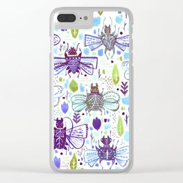 Inky Beetles Clear iPhone Case