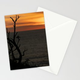 silhouette of trees with beautiful sunset over the sea Stationery Cards