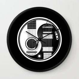White and Black Acoustic Electric Yin Yang Guitars Wall Clock