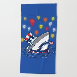 The Patriotic Shark Beach Towel