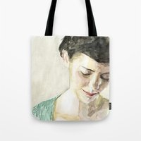 amelie Tote Bags featuring Amelie Poulain  by Stefan Harris