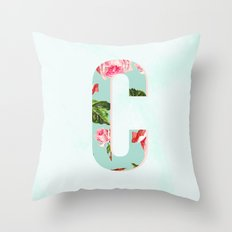 Floral Letter C - Letter Collection Throw Pillow